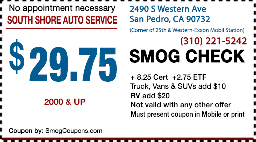 Smog Check Coupons San Pedro